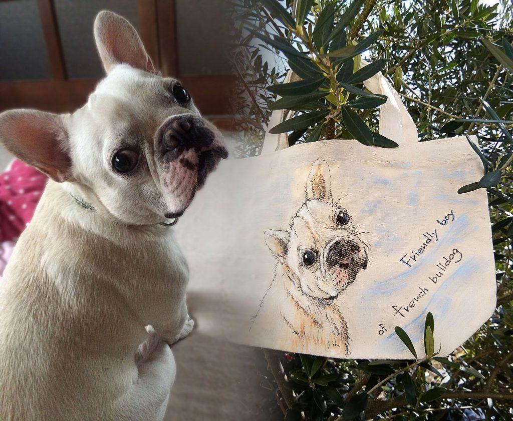 愛犬『歴』の手描きバック