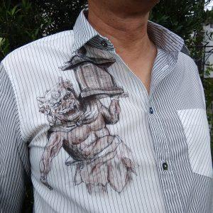 木造天燈鬼立像の手描きシャツ
