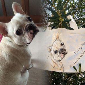 愛犬の手描きバッグ